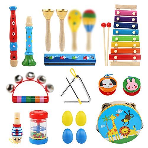 LEADSTAR Strumenti Musicali per Bambini, Set Strumenti Musicali Percussioni Giocattolos in Legno, Giochi Musicali per Bambini