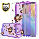 LG Stylo 4 Case,LG Q Stylus CaseLG Stylo 4 Plus,Stylus 4 Case for Girls,with HD Screen Protector,YmhxcY [Hard PC Back Flower and TPU Two-Color Gradient] Protective Cover for Stylo 4-GC Purple/Blue