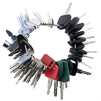 Solarhome 42 Keys Heavy Equipment Key Set Construction Ignition Key Set for Case Cat Komatsu John Deere JCB Volvo Excavator Key Heavy Equipment Master Key Set