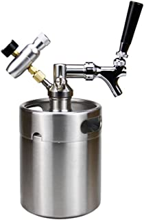 SupYaque Mini Beer Keg Pressurized Stainless Steel Growler Keeps Carbonation for Homebrew or Craft Draught Beer Kegging Equipment Enthusiast (2 L/64 oz)