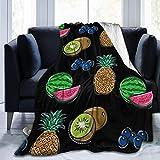 Couverture de lit en Polaire Ultra-Douce Fuzzy Luxurious Throw Blanket Watermelon Ananas Kiwi Blueberry Couvertures de canapé Chaudes et Confortables pour Chaise de Salon de Chambre à Coucher, Facile