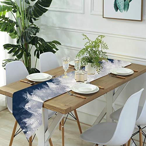 Jack16 Camino de mesa de lino con cristales de nieve de hielo congelados, decoración para el hogar, fiestas, decoración de vacaciones, para cocina, comedor, café, 33 x 70 pulgadas
