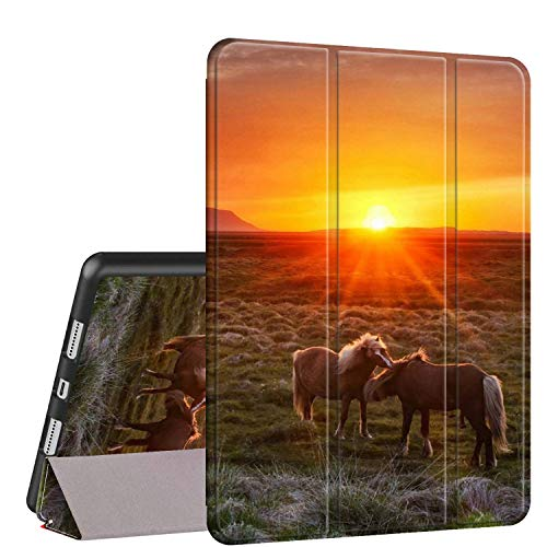 iPad Air 10.5 (3rd Gen) 2019/Pro 10.5 2017 Case, Rossy PU Leather Shock Trifold Stand Folio Smart Cover with Auto Wake/Sleep & Pencil Holder for Apple iPad Air 3rd Gen,Sunset Horse