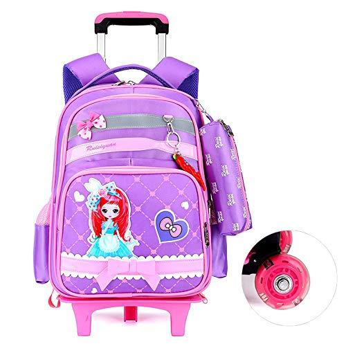 QWEIAS Mochila para niños Trolley Bag - Princess 3D Mochila Escolar para niños y niñas - Mochila para niños Mochila con Ruedas con Mango telescópico y Ruedas de 2/6 Purple-2 Rounds