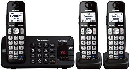 Panasonic KX-TGE243B DECT 6.0 Expandable Digital Cordless Answering System, 3 Handsets,Black