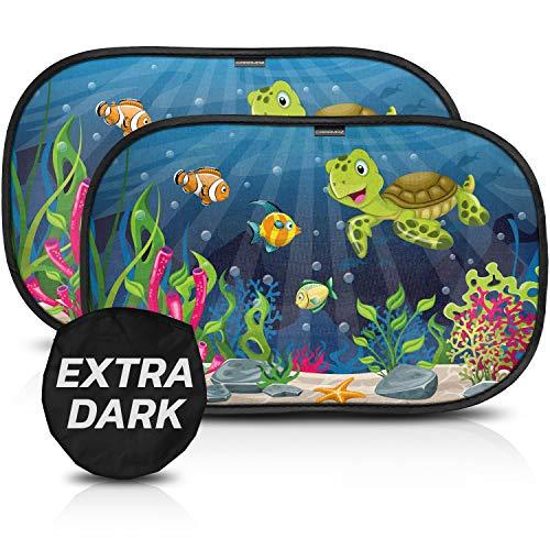 Tendine parasole auto bambini CARAMAZ extra scuro con protezione UV certificata - Parasole bambini accessori auto, 2 pezzi 51x31cm, tende da sole...