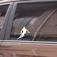 Djskhf 12.8 * 9.7センチ面白いスキービニールスポーツ反射装飾車のステッカー高品質パーソナライズ 車の傷を カバー 隠す Black X 5Pcs