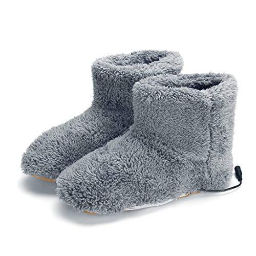 Swiftgood Elektrisch beheizte Schuhe Bequeme Plüsch-Fußwärmer-Schuhe Waschbare USB-Aufladung Elektrische Heizschuhe als Geschenk