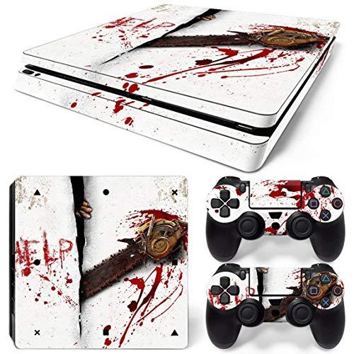 PS4 Slim Skins für Konsole und Controller von 46 North Design, gleiche Aufkleberqualität für Autos, Angst Kettensäge Horror Zombie Rot Weiß Terror Panik, Passform PS4 Slim, Made in Canada