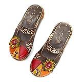 Gracosy - Sandalias de piel para mujer, zapatillas de verano, zapatillas de tacón, plataforma plana, con motivos florales, para pies anchos, color azul, gris, verde y rojo, Gris (gris), 41 EU Large