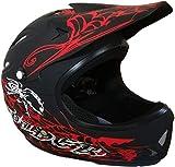 Protectwear Downhill casco Freeride casco BMX casco Ragno rosso nero opaco FH 40, taglia 2XS (gioventù L)