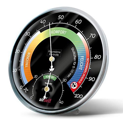 airself Thermo-Hygrometer analog – Raumthermometer und Feuchtigkeitsmesser – Raumklimakontrolle anhand bunter Zonen