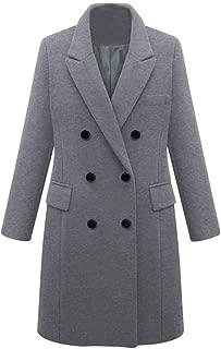 Women's Basic Designed Notch Lapel Double Breasted Wool Pea Coat Winter Lapel Trench Jacket Long Overcoat Outwear