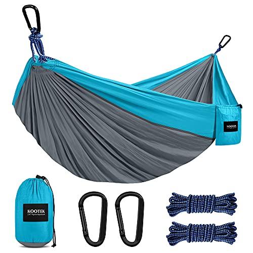 Kootek Double Camping Hammock Portable Tree Hammocks with 2 Hanging Ropes, Lightweight Nylon Parachute Hammocks for Backpacking, Travel, Beach, Backyard, Hiking