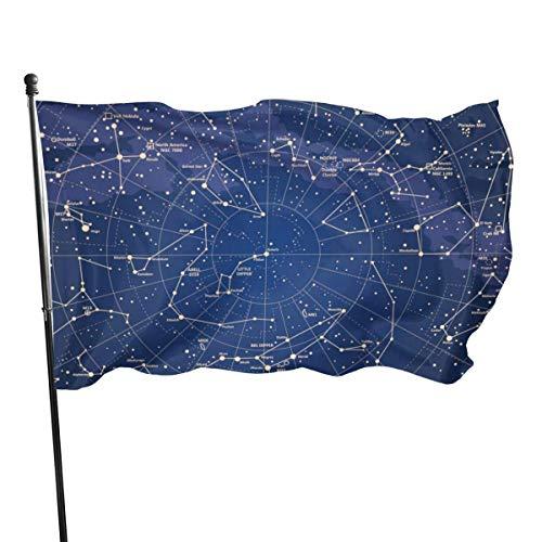 Jacklee 12 sterrenbeeld universum Galaxy Space Stars Tuinvlaggen Duurzame Fade Resistant Decoratieve Vlaggen Premium Officiële Vlag met Grommets Deluxe Outdoor Banner 2020 voor Alle seizoenen- 3X 5 Ft