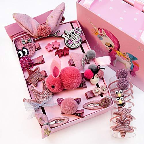 NFACE 24 stücke Geschenk Set Haarschmuck Baby Kleine Mädchen Haarspangen Bögen Haarspangen Haarnadeln Set Kopfschmuck (Dark Pink-I Style)