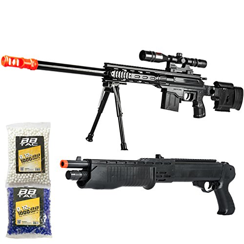 BBTac Airsoft Gun Package - American Sniper - Powerful Spring Sniper Rifle, Shotgun, and BB Pellets, Great for Starter Pack Game Play