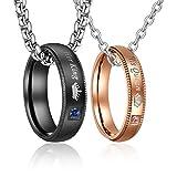 parejas anillos colgantes con cadenas, 50 cm y 60 cm, circonitas, anillos para parejas, collares con grabado, regalo de amor (TYP1)