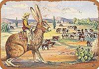 テキサスカウボーイ ウサギに乗ってヴィンテージスタイル メタルサイン アイアン 絵画 屋内 & 屋外 ホーム バー コーヒー キッチン 壁の装飾 8 × 12 インチ