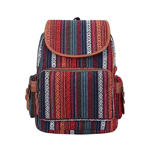Bolsas de trekking Mochila de viaje Mochila de moda, Mochila de viaje étnica Boho Mochilas de hombro de lona de gran capacidad for mujeres Excursionistas de deportes al aire libre ( Color : Red )