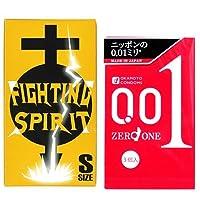 オカモト ゼロワン 0.01ミリ 3個入 + FIGHTING SPIRIT (ファイティングスピリット) コンドーム Sサイズ 12個入