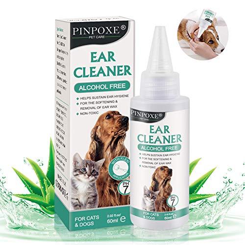 Limpiador de Oidos para Perros, Limpiador Oidos para Perros y Gatos, Adecuado para perros, gatos y otras mascotasLimpia, desodoriza, Elimina los olores, 60 ml