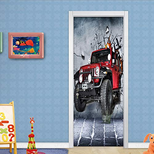 LXZHJL 3D Türaufkleber Kreatives Retro rotes Auto durch die Wand Sticker Türtapete PVC selbstklebend TürPoster Wohnzimmer Schlafzimmer Hauptdekoration Türaufkleber