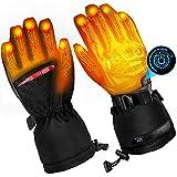 Guantes calefactables para hombres y mujeres, guantes calefactables para moto, 7,4 V, 5000 mAh, 5 niveles de regulación de temperatura y para pantalla táctil, funciona hasta 6-12 horas (negro)