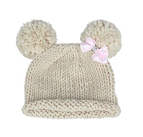 Bestknit Bonnet à pompon tricoté au crochet décoré d'un nœud pour bébé - blanc cassé - M