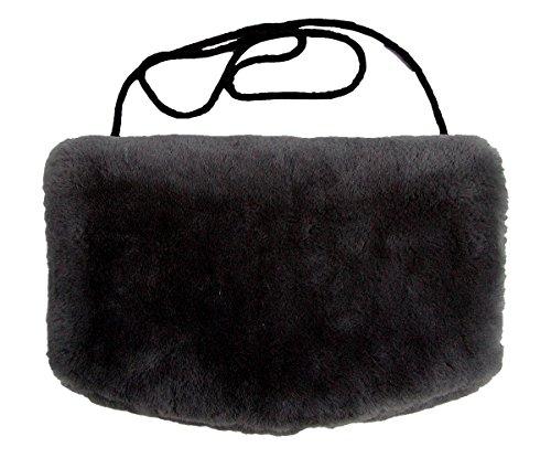 Warmer Lammfell Pelzmuff schwarz mit Reißverschlusstasche waschbar, geschorenes Lammfell, ca. 29,5x19 cm