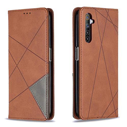 MOONCASE Realme 6 Pro Hülle, Flip Cover Leder Magnetische Brieftasche Handyhülle mit Kartenschlitz Taschen Ständer Hülle für Realme 6 Pro 6.6