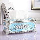 YXSJLT Tissue Paper Holder Box Silver Blue High-Grade Oil Drip Storage Box Lunch Box Car Pumping Box Tissue Storage Box