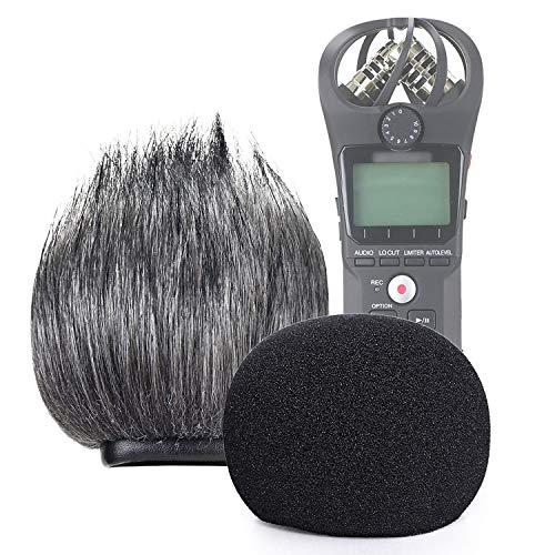 Filtro de espuma SUNMON e protetor de pára-brisa peludo para gravador portátil Zoom H1n e H1, Deadcat externo e capa de espuma interna protegida contra vento.