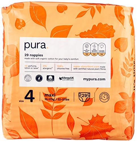 Pura Pañales de bebé Premium Eco tamaño 4 (Maxi 10-17 kg) 5 paquetes de 29 pañales (145 en total), fibras vegetales naturales con certificado FSC, puros y respetuosos con el medio ambiente