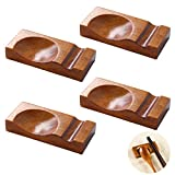 Wooden Chopstick Rest, Ewantgo Chopsticks Holder for Table Spoon Rest Japanese Style Stand Rack for Home Restaurant Kitchen Dining Tableware Decorations 4 Pieces Set