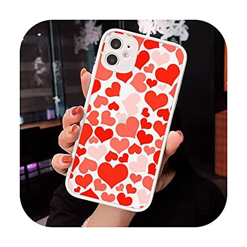 Amor corazón rojo patrón teléfono cajas mate transparente para iphone 7 8 11 12 más mini x xs xr pro max lujo marca shell cover-a3-iPhone7plus u 8plus