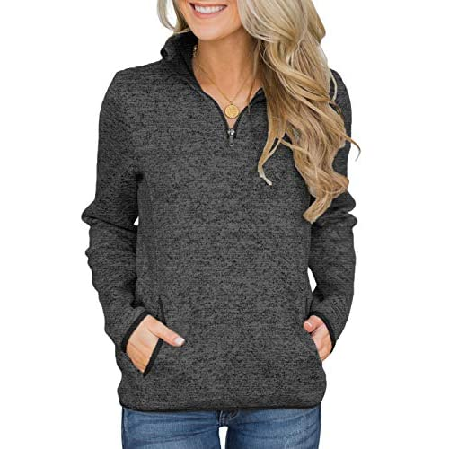 Dokotoo Womens Casual Long Sleeve Stand Collar Sweatshirt 1/4 Zip Pullover with Pockets