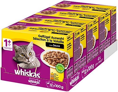 Whiskas 1 + Katzenfutter – Geflügel-Auswahl in Sauce – Schmackhaftes Feuchtfutter für eine gesunde Katze – 48 Portionsbeutel à 100g