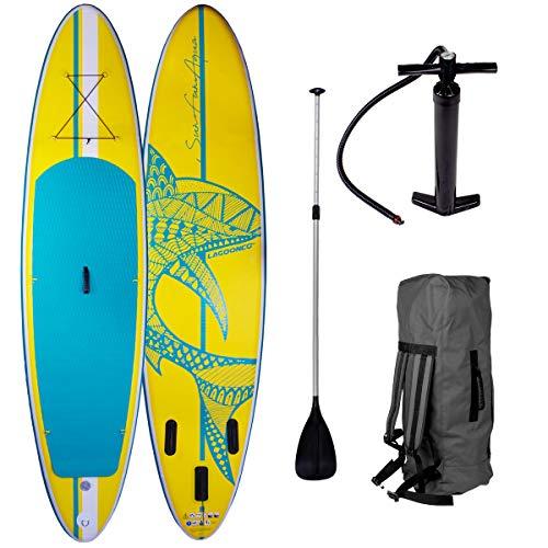 SUP Board Stand up Paddling Surfboard Shark Gelb 320x76x15cm aufblasbar Alu-Paddel Hochdruck-Pumpe Transportrucksack 115KG Tragkraft