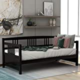 Wood Daybed Frame Twin Size with Rails, Wooden Slats Support Modern Daybed Twin (Espresso Daybed)