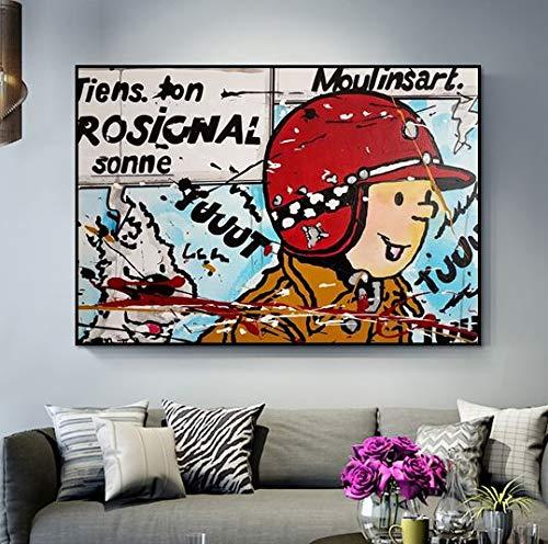 baodanla Kein Rahmen Ölgemälde Graffiti Gehirnwäsche Kunst Tim und Struppi im Ölgemälde auf dem sehr schönen Schlafzimmer decoration40x60cm