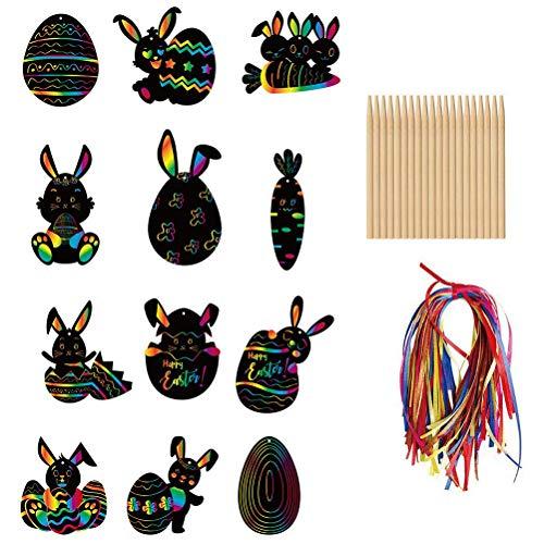 Wopohy Decoración de huevos de Pascua, para rascar, 12 unidades, papel de Pascua, para rascar, tarjetas de papel, para Pascua, conejo, zanahoria, huevos de Pascua, manualidades