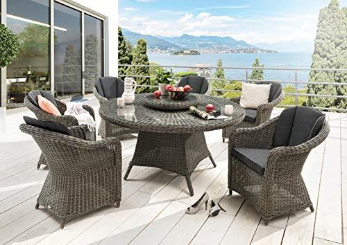 Destiny Luna & Malaga - Juego de mesa y sillas de jardín, diseño vintage, color gris