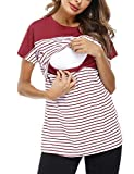Hawiton Camisetas Lactancia Manga Corto Camiseta de Lactancia Algodon Camiseta de Lactancia Invierno Camiseta Premamá...