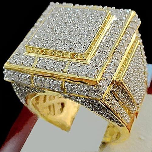 liuliu Micro Pave Stone enormes Anillos de Oro de 24 K para Hombres y Mujeres, joyería de Compromiso de circonita Blanca, Anillos de Boda Grandes de Hip Hop para Hombre Anel