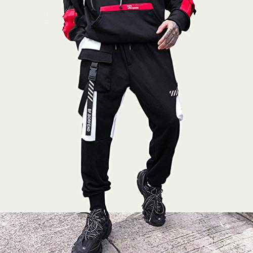HNRLSL Pantalones Harem Cargo Hombres Streetwear Hip Hop Bolsillos Negros Pantalones Harajuku Swag Ribbon Joggers Pantalones Pantalones de chándal de Color de Contraste Pantalón