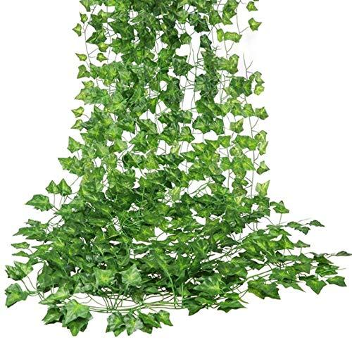 Gfhrisyty 12 Confezioni di Edera Artificiale Foglia Pianta Vite Ghirlanda Appesa Bouganville Finta Casa Giardino Ufficio Decorazione della Parete Verde
