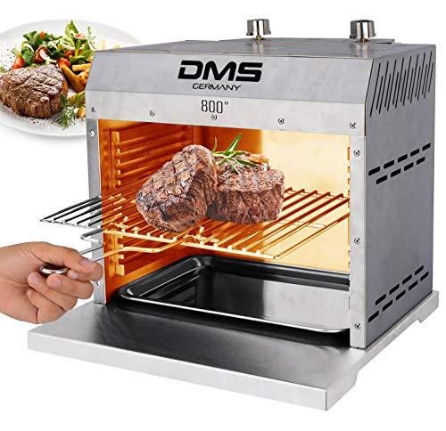 DMS® Beef Maker Hochleistungs Oberhitze Gasgrill Grill Temperaturen bis zu 860° C Hochleistungsgrill Aus Edelstahl für Steaks Stufenlos regulierbarer Gas-Keramikbrenner, Steakgriller. (XXL)
