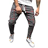 Mens Pants,2019 New Classic Drawstring Plaid Stripe Print Elastic Waist with Pocket (US:32, Red)