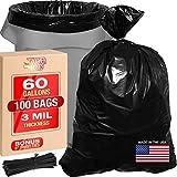 3 Mil 60 Gallon Contractor Trash Bags - 38